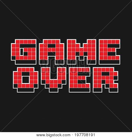 Game over pixel design isolated on background. Vector stock.