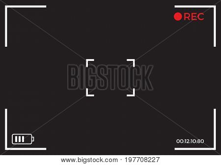 Camera recording viewfinder black screen. Modern digital video photo camera focusing screen. Vector stock.