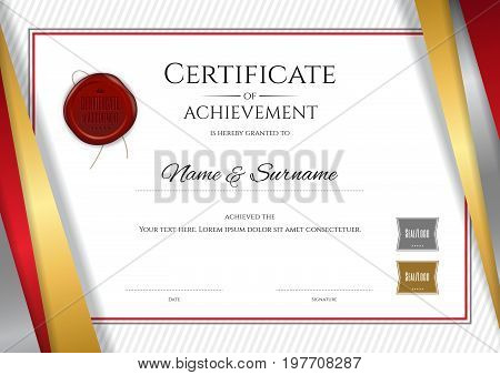 Luxury certificate template with elegant golden border frame Diploma design for graduation or completion