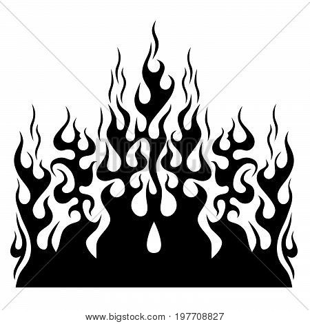 Flame vector tribal. Black tribal flame for a tattoo, logo or other design. Tribal tattoos. Art tribal tattoo. Vector sketch of a tattoo.