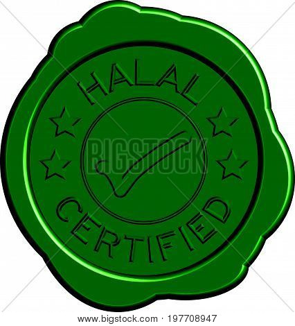 Green round wax seal of wording halal certified with mark icon on white background