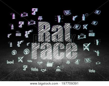 Political concept: Glowing text Rat Race,  Hand Drawn Politics Icons in grunge dark room with Dirty Floor, black background
