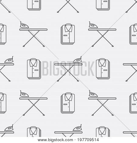 Iron board and folded shirt. Seamless pattern background