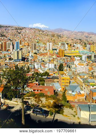 La Paz city centre on sunny day, Bolivia, South America.