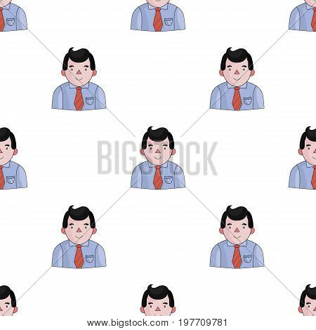 Businessman icon in cartoon design isolated on white background. Conference and negetiations symbol stock vector illustration.
