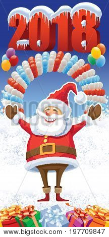 New Year 2018 with smiling Santa Claus on the white winter background with balloons and gifts.