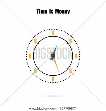The clock and time is money conceptlong term financial investmentsuperannuation savingsfuture incomeannual revenuemoney profit and benefit. Vector illustration