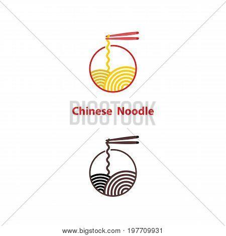 Noodle restaurant and food logo vector design.Chinese noodle logo design template.Taste of Asia logo template design.Vector Illustration.