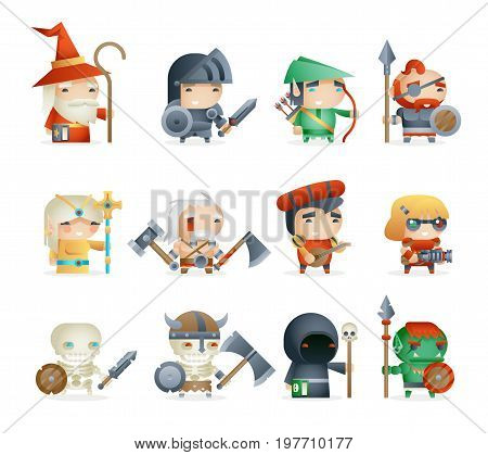 Heroes Villains Minions Fantasy Game RPG Character Vector Icons Set Vector Illustration