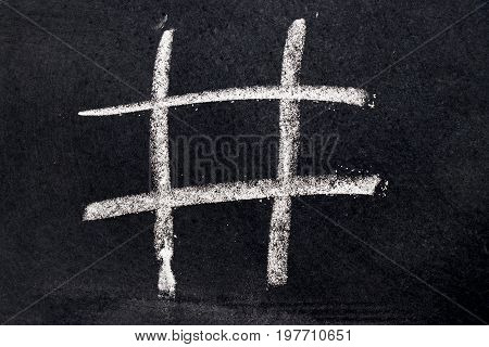 White chalk drawing as Tic Tac Toe blank shape on black board background