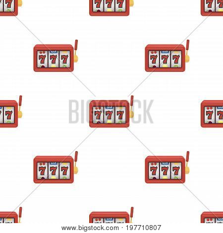 A slot machine in a casino. An automatic with a lever and a dial.Kasino single icon in cartoon style vector symbol stock web illustration.