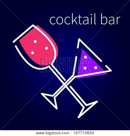 Card alcoholic drinks for bars parties. Flyer with martini glass. Vector illustration