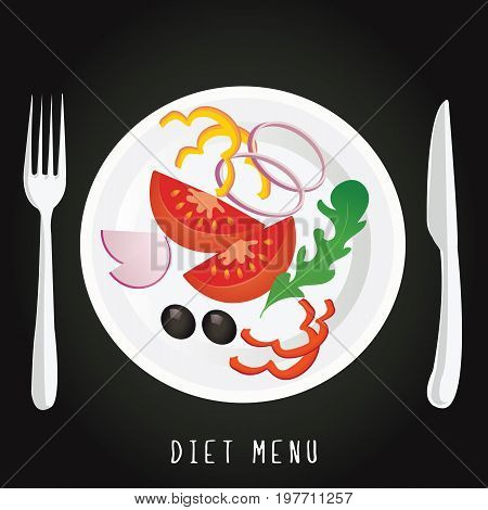 a plate with the vegetables on a black background. Salad concept of diet, nutrition, healthy lifestyles  diet Vector design for diet menu, cafe, restaurant.