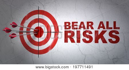 Success Insurance concept: arrows hitting the center of target, Red Bear All Risks on wall background, 3D rendering