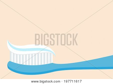 Toothbrush with toothpaste. Brushing teeth Healthy tooth. Oral dental hygiene Blue brush paste icon. Baby care Isolated. Beige background Flat design. Vector illustration
