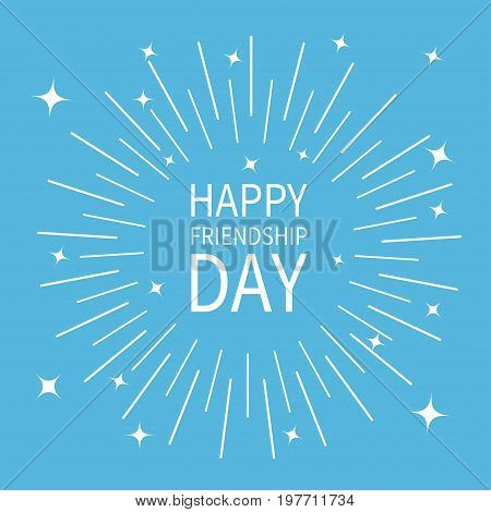 Happy Friendship Day. Sunburst round black line circle. Shining effect with stars. Abstract shape. Retro bursting rays. Decoration element. Blue background. Isolated. Flat design. Vector illustration