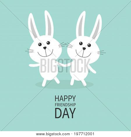 Happy Friendship Day. Two white bunny rabbit couple set Holding hands Cute cartoon smiling character. Happy emotion. Friends forever Baby greeting card Green background Flat design Vector illustration