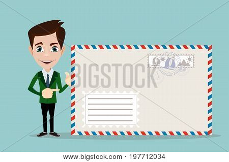Business man holding envelope on white background. Stock vector illustration for poster, greeting card, website, ad, business presentation, advertisement design.