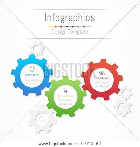 Infographic design elements for your business data with 3 options parts steps timelines or processes. Gear wheel concept Vector Illustration.