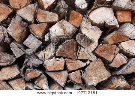 Firewood Stacked and Prepared for Winter Pile of Wood Logs. Chopped firewood on a stack.Natural wooden background, closeup of chopped firewood