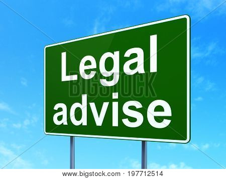 Law concept: Legal Advise on green road highway sign, clear blue sky background, 3D rendering