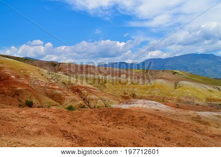 Layers of multicolor hills of Altai mountains. Altay Republic Russia.