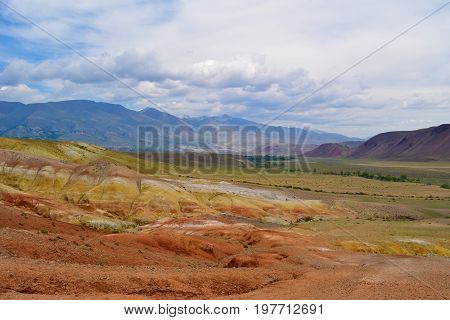 Layers of colorful hills of Altai mountains. Altay Republic Russia.