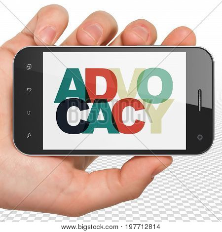 Law concept: Hand Holding Smartphone with Painted multicolor text Advocacy on display, 3D rendering