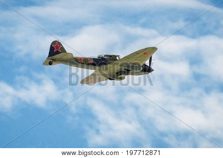 Moscow Region - July 21, 2017: The old Soviet restored ground-attack aircraft of the Second World War Il-2 flies at the International Aviation and Space Salon (MAKS) in Zhukovsky.