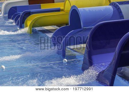 Colorful Water Slides At The Aqua Park
