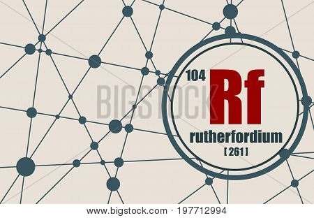 Rutherfordium chemical element. Sign with atomic number and atomic weight. Chemical element of periodic table. Molecule And Communication Background. Connected lines with dots.