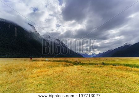 The stunning scenery at Knobs Flat of Eglinton Valley viewpoint on the Milford Sound highway Fiordland National Park South Island of New Zealand