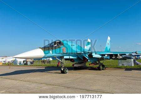 Moscow Region - July 21, 2017: New Russian fighter-bomber Sukhoi Su-34 at the International Aviation and Space Salon (MAKS) in Zhukovsky.