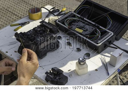 Fibre Optic Splicing Equipment On The Street