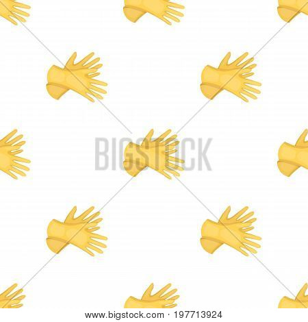Rubber gloves icon in cartoon design isolated on white background. Cleaning symbol stock vector illustration.