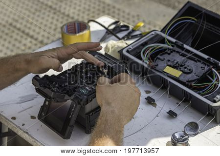 Fibre Optic Technician Hands