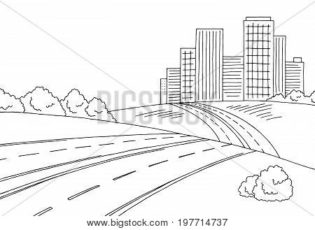 Road city graphic black white landscape sketch illustration vector