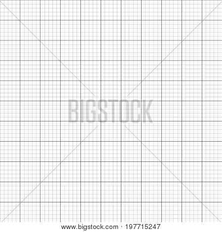 Vector illustration graph plotting grid paper seamless pattern texture. Square grid background. Seamless millimeter paper