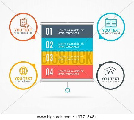 Concept of Business Infographic Option Banner Card and Hanging Projector Screen for Web Design. Vector illustration
