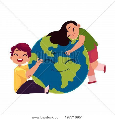 Kids, boy and girl, hugging smiling Globe, Earth planet character, cartoon vector illustration isolated on white background. Kids, children and the Globe, Save the Earth, Earth day concept