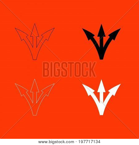 Three way direction arrow white and black color  icon .