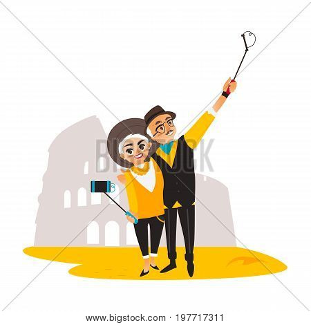Vector adult couple makes selfie on the background of Coliseum. Flat cartoon Isolated illustration on a white background. Man and woman in fashion clothing makes photo by selfie stick on vacation