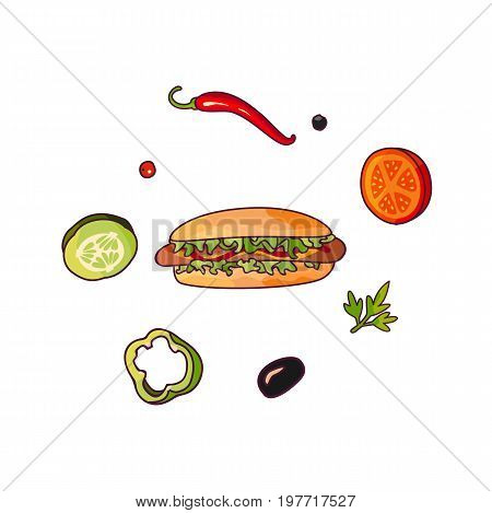 Vector flying ingredients hotdog set flat isolated illustration on a white background. Vegetables for pizza, sandwich, roll shawarma fastfood preparation. Chilli, tomato pepper olive cucumber cartoon