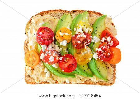 Avocado Toast With Hummus And Tomatoes Isolated On A White Background
