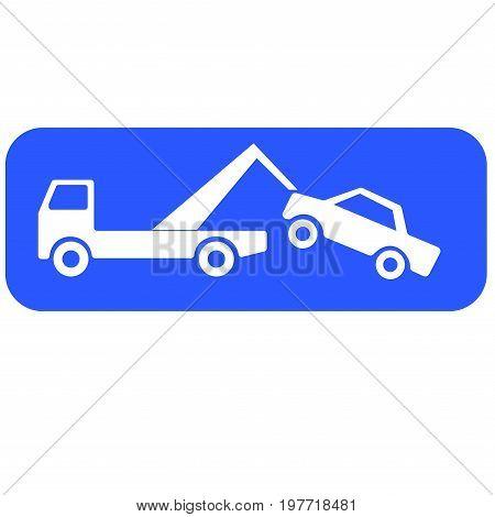 Breakdown truck lifting a car vector concept