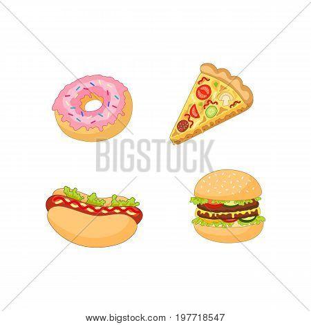 Vector burger hot dog pizza donut set. Flat cartoon isolated illustration on a white background. Fast junk food concept. Tasty doughnut, pepperoni tomato pizza slice, humburger sandwich, hot dog