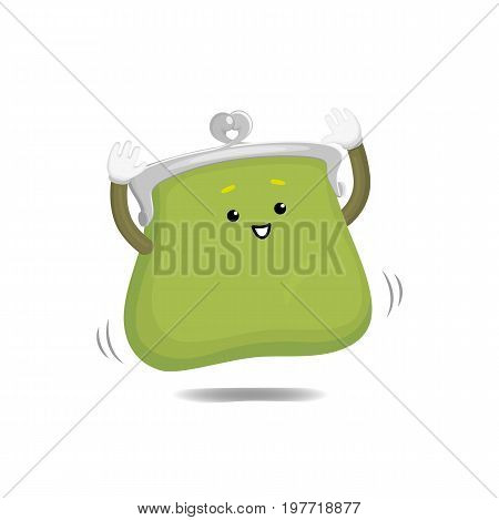 Vector money wallet, purse character flat illustration isolated on a white background. Expressive happy, emotinal satisfied wallet smiling jumps. Money, success wealth and richness concept