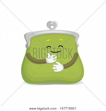 Vector money wallet, purse green character flat illustration isolated on a white background. Expressive happy, emotinal satisfied wallet smiling . Money, success wealth and richness concept