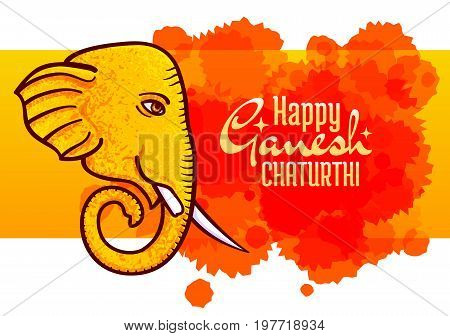 Ganesh Chaturthi Vector Poster, Elephant Head