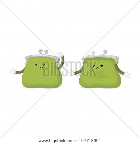 Vector money wallet, purse character flat set illustration isolated on a white background. Expressive emotinal sad empty puzzled green wallets . Money, success wealth and richness concept